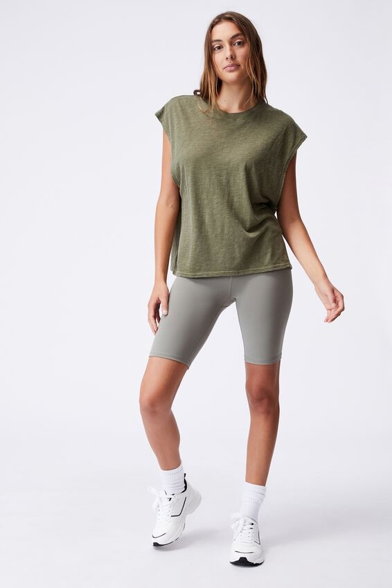 Lifestyle Slouchy Muscle Tank, DEEP MOSS WASH