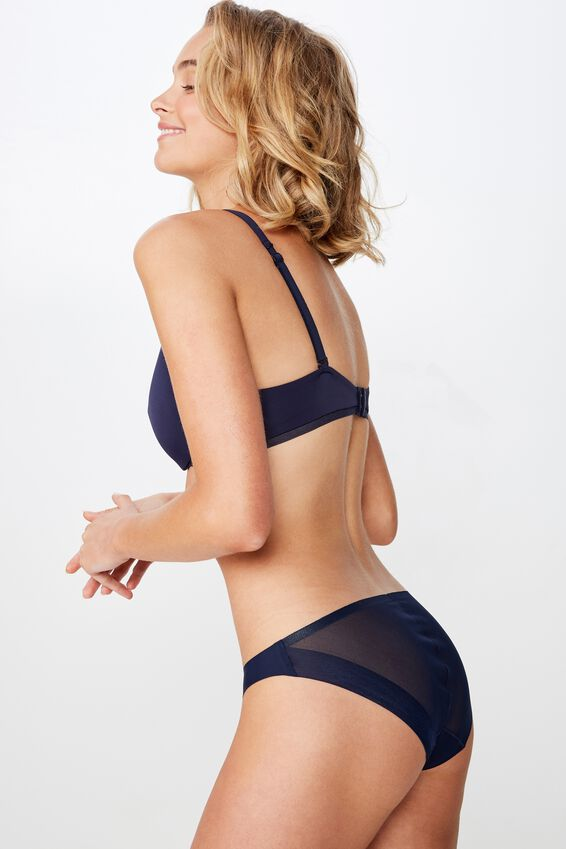 Mesh Panel Bikini Brief, INDIGO