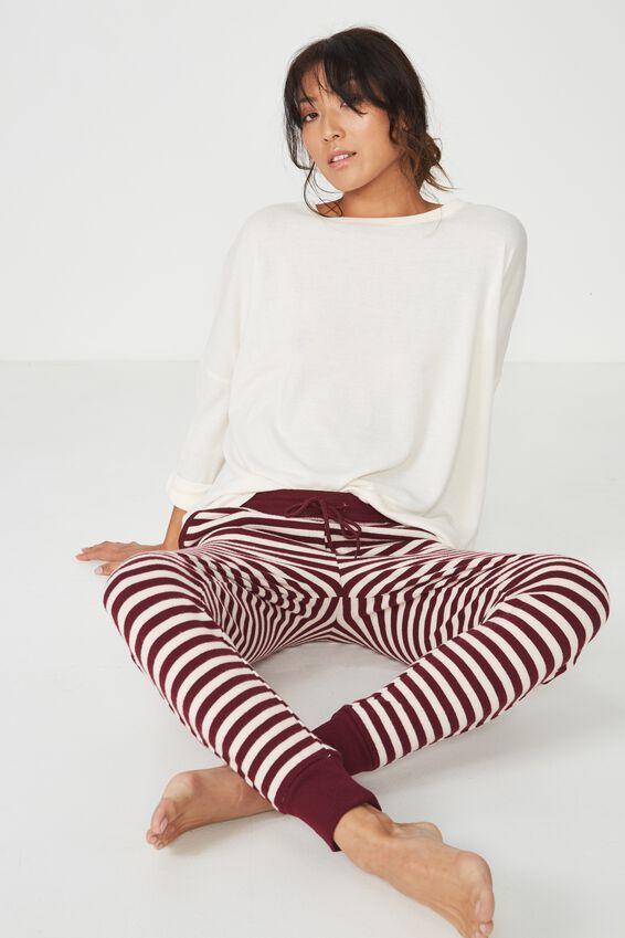 Super Soft Slim Fit Pant, RED CURRENT/EGGNOG STRIPE