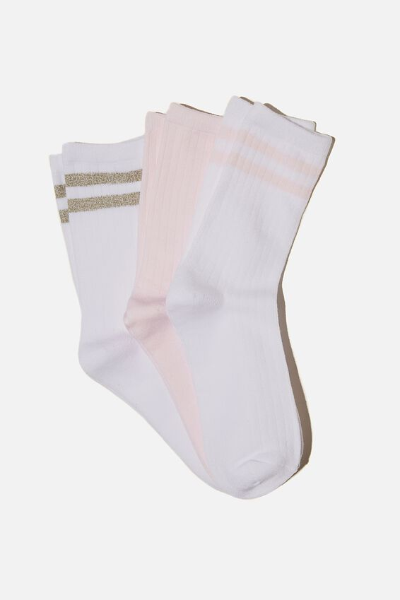 3Pk Body Crew Sock, PRETTY PINK/STRIPE