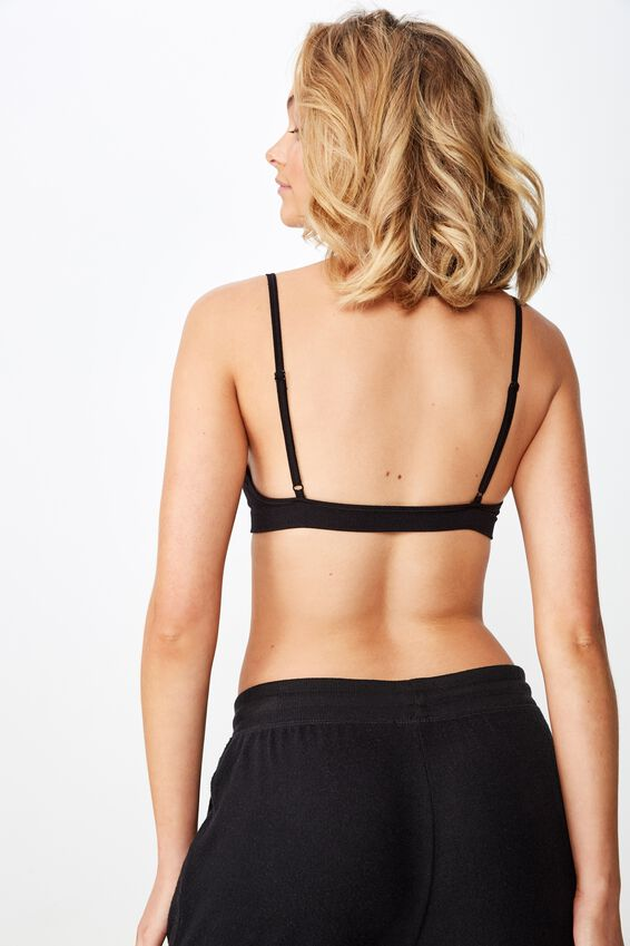 Seamfree Triangle Bralette, BLACK