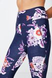 Lightweight Studio 7/8 Tight, NAVY ETCHED FLORAL