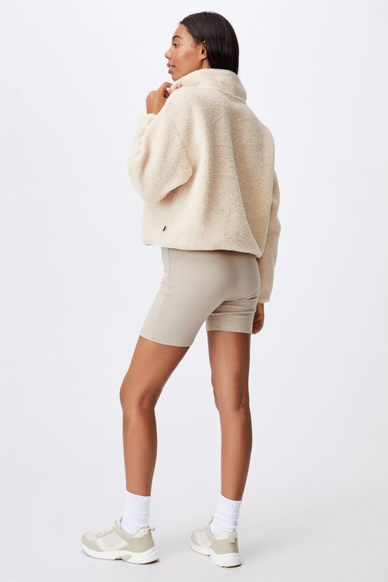 Crop Sherpa Pull Over, NATURAL