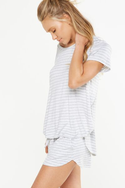 Sleep Recovery Curved T Shirt, GREY MARLE STRIPE