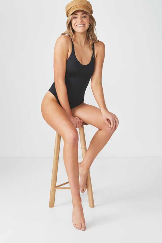 Flo Double Strap One Piece Cheeky, BLACK