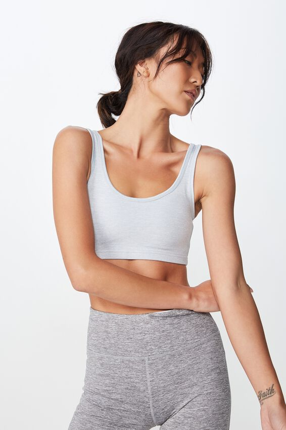Workout Cardio Crop Bra, GREY MARLE