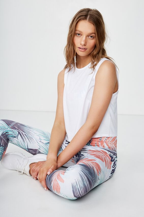 Cropped Active Muscle Tank, WHITE