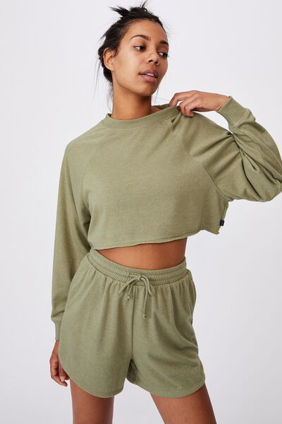 Lifestyle Crop Raglan Fleece, OREGANO MARLE