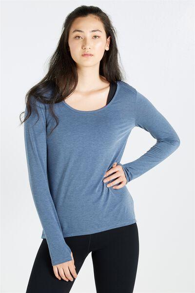 Long Sleeve Sports Top, STEEL BLUE