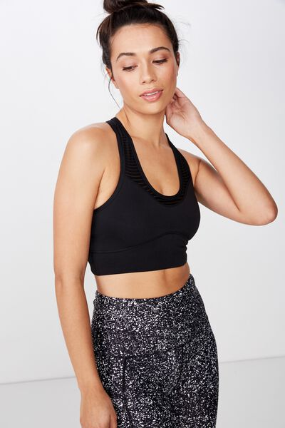 Stripe Mesh Racer Crop, BLACK