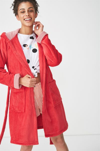 Luxe Plush Robe, SPICEY RED MINI TEXTURED