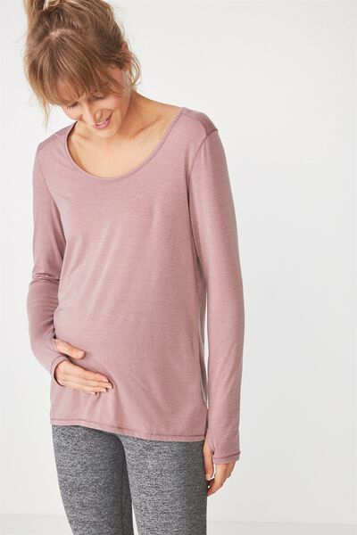 Maternity Long Sleeve Sports Top, THISTLE MAUVE