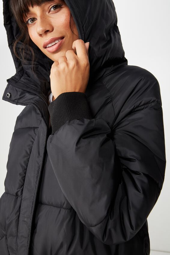 Longline Active Puffer Jacket, BLACK