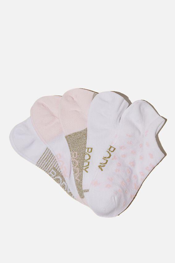5Pk Body Low Cut Socks, DESERT SAGE/PRETTY PINK COLOUR BLOCK