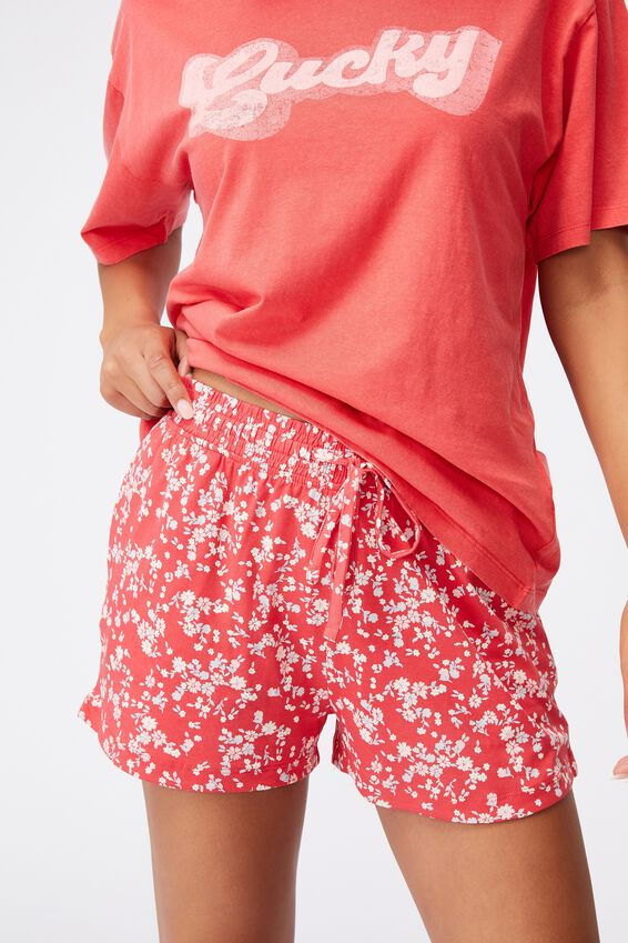 Jersey Sleep Short, TRAILING DAISY FIESTA RED