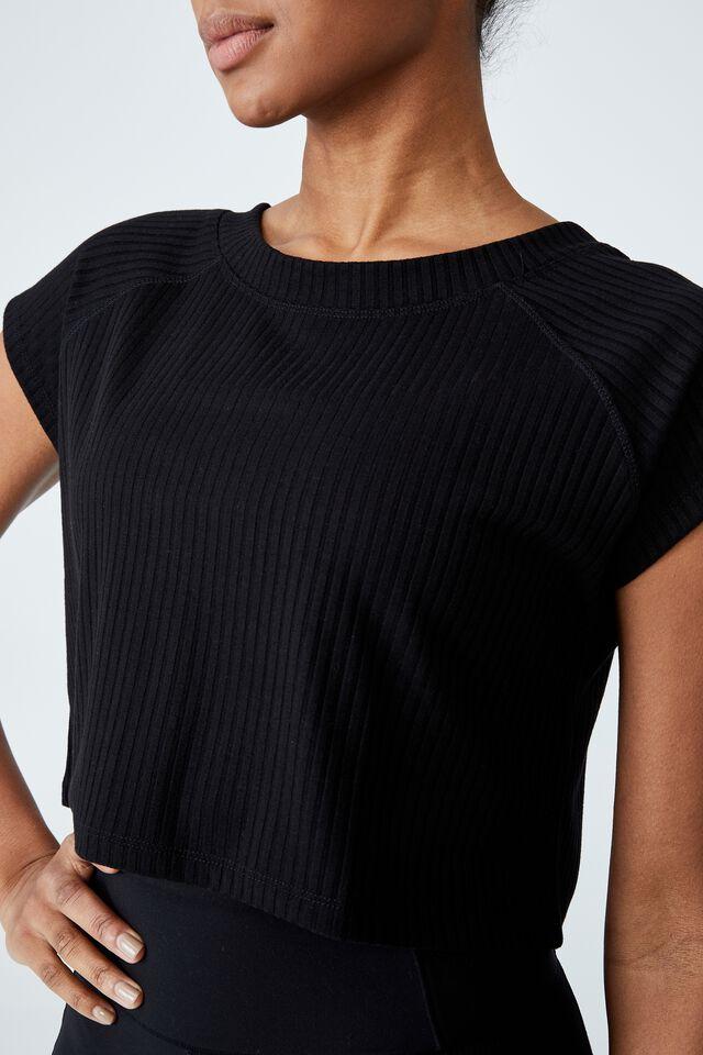 Rib Cropped T-Shirt, BLACK