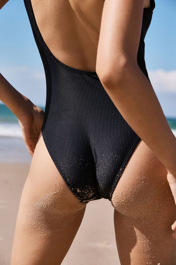 Henley One Piece Cheeky, BLACK RIB