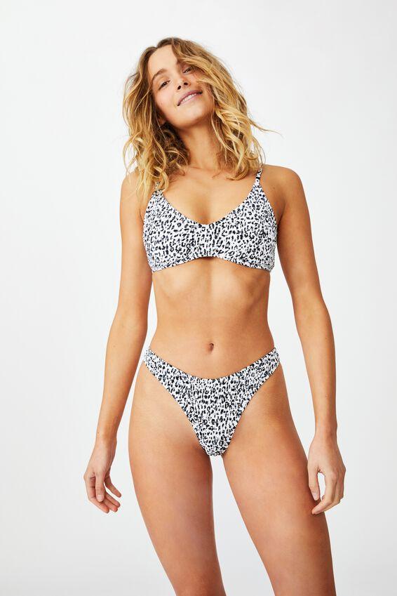 Refined High Side Brazilian Bikini Bottom, MONO LEOPARD SHIRRED