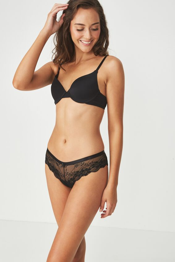 Lace Brasiliano Brief, BLACK