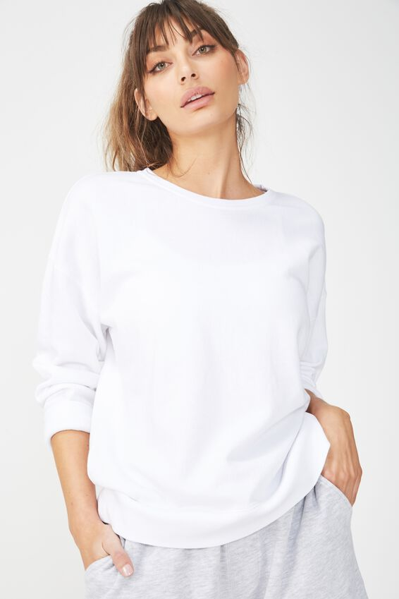 Active Crew Long Sleeve Top, WHITE