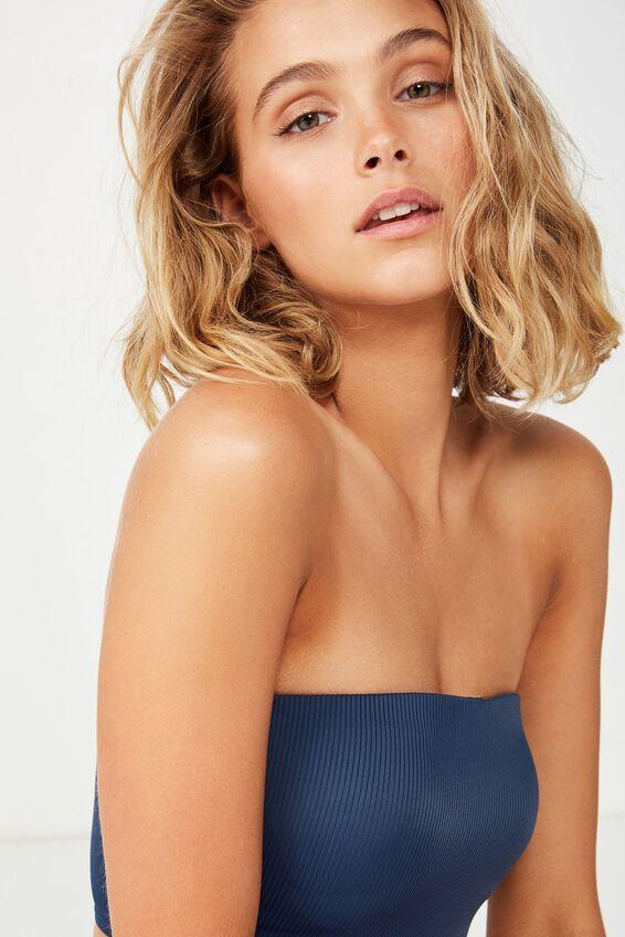 Cora Rib Longline Bandeau Bikini Top, NIGHTBLUE