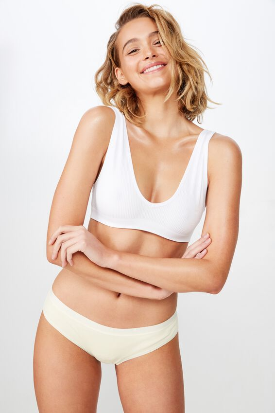 Seamfree Rib V Neck Crop, WHITE