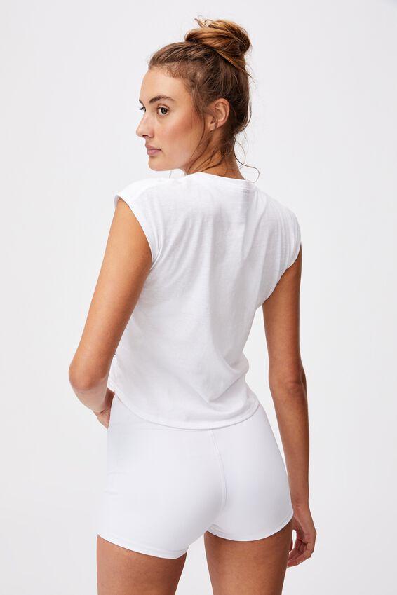 Lifestyle Cross Hem Tshirt, WHITE