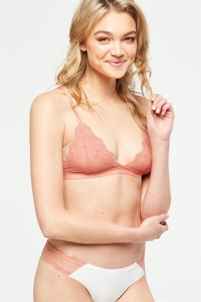 The Body V Lace Bralette, POWDER PEACH