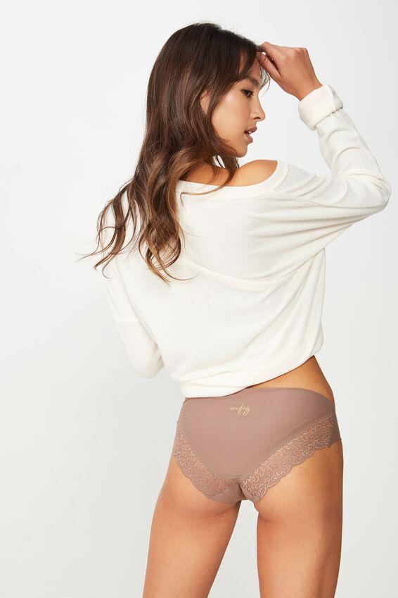 Personalised Party Pants Seamless Bikini Brief, ESPRESSO