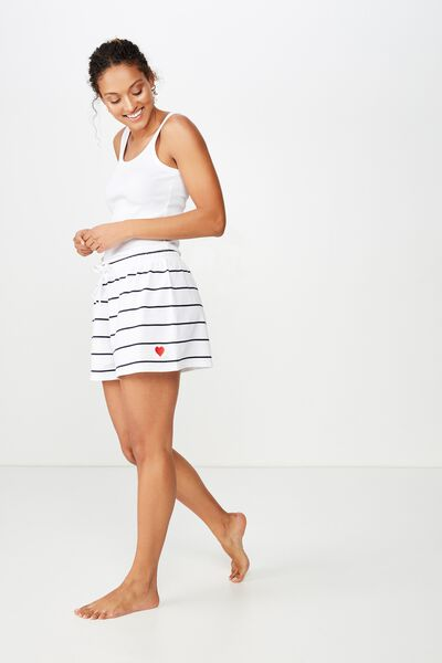Boyfriend Jersey Short, NAVY THIN PIN STRIPE