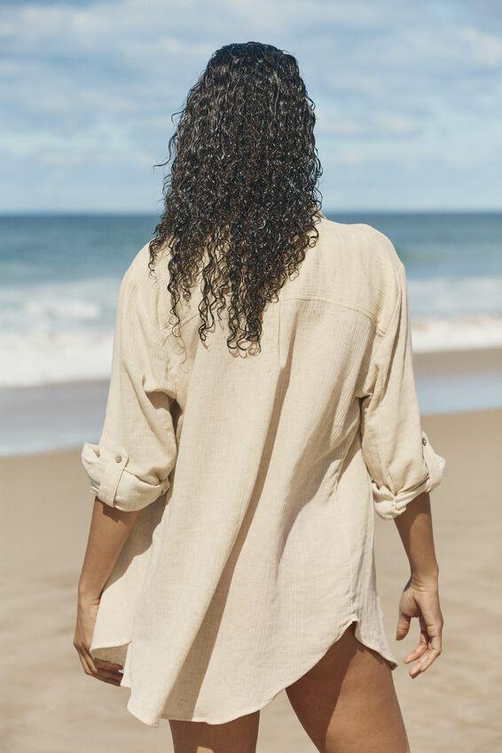 Oversized Beach Shirt, NATURAL