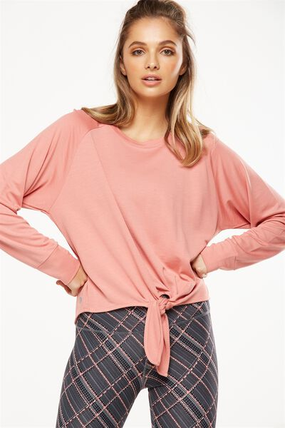 Knot Front Long Sleeve Top, DUSTY CLAY