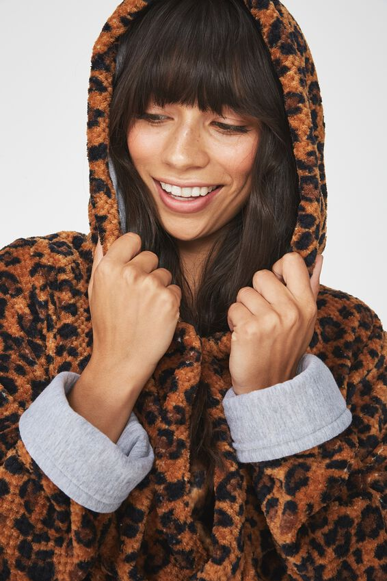 Luxe Plush Robe, LEOPARD MINI TEXTURED