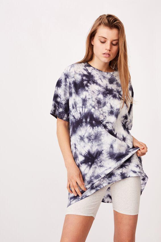90 S Tshirt Nightie, NAVY TIE DYE