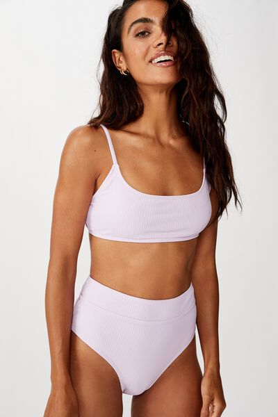 Highwaisted Banded Cheeky Bikini Bottom, LILAC RIB