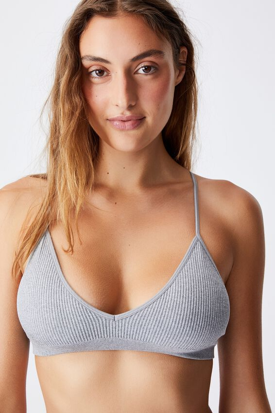Seamfree Triangle Bralette With Cups, LT GREY MARLE