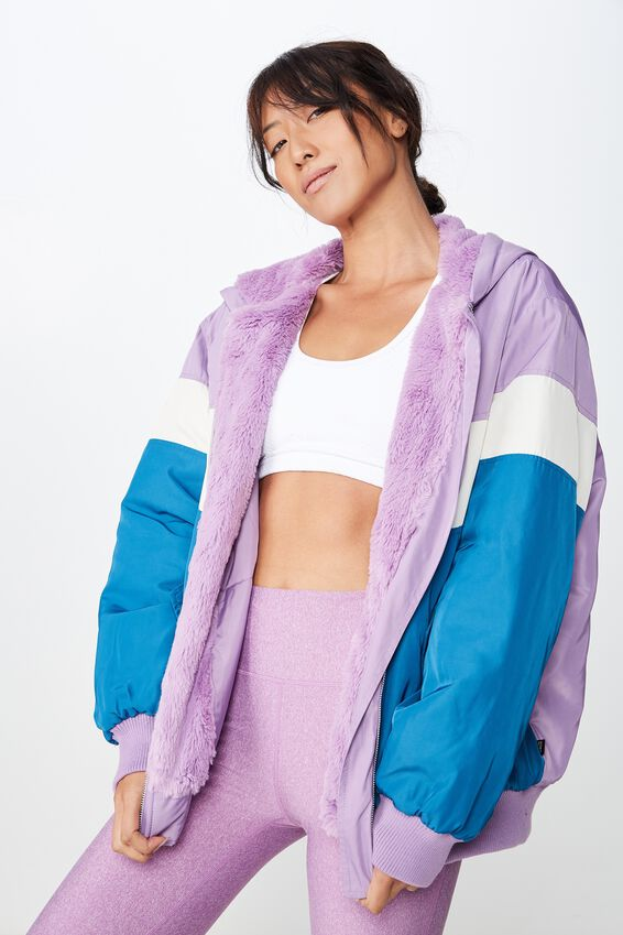 Oversized Bomber Jacket, PURPLE DOVE/GARDENIA/DAPHINE BLUE