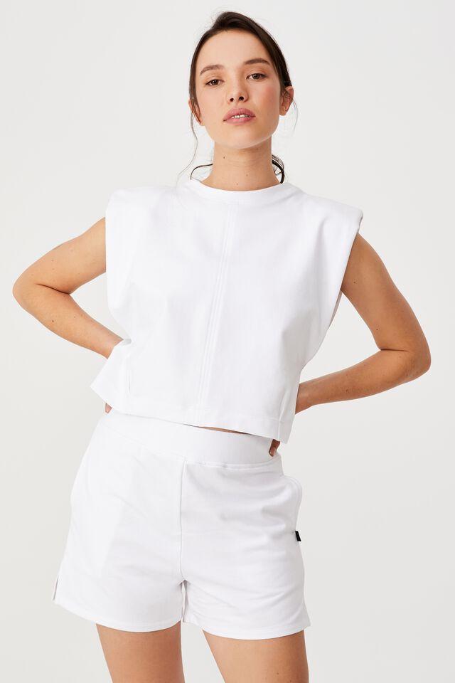 Padded Shoulder Fleece Tank, WHITE