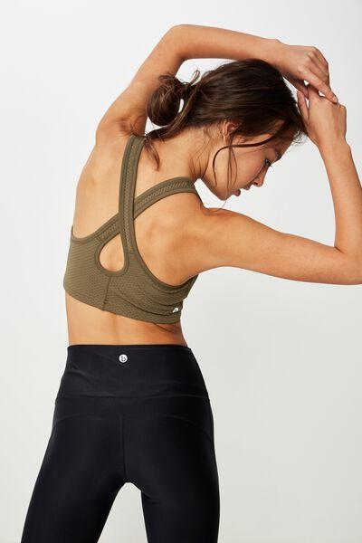Workout Cardio Crop, OLIVE BRANCH TEXTURE