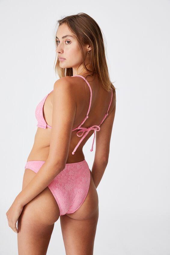 Backless Ruffle Bikini Top Jacquard, PRIMROSE PETALS JACQUARD