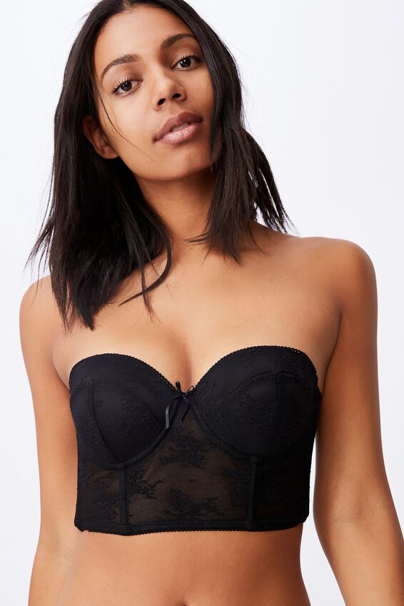 Cherry Blossom Longline Push Up Bra, BLACK