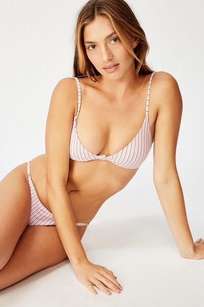 Knot Front Bralette Bikini Top, CIRCUS STRIPE