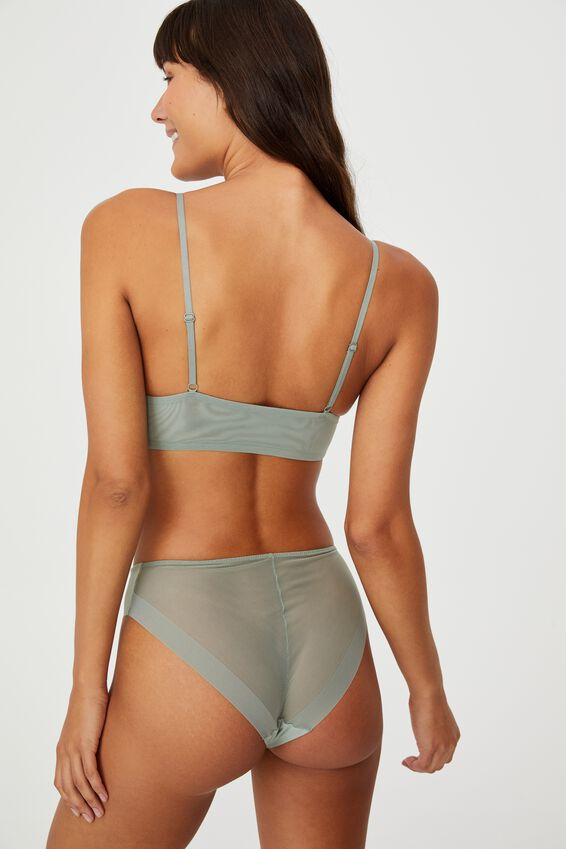 Invisible Mesh Longline Bralette With Cups, DESERT SAGE