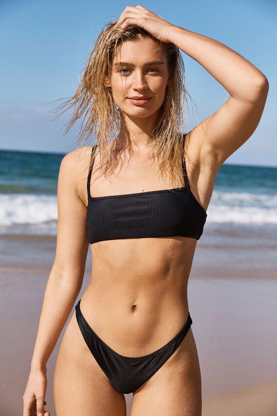 Backless Tube Bikini Top, BLACK RIB