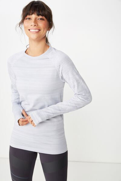 Seamfree Sports Longsleeve Top, MID GREY MARLE