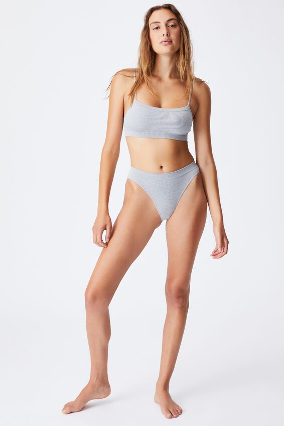 Seamfree Straight Neck Crop With Cups, LT GREY MARLE