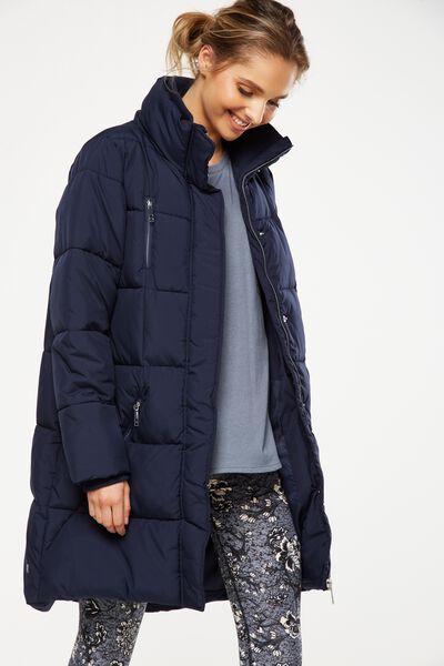 Long Puffer Jacket, DARK INDIGO