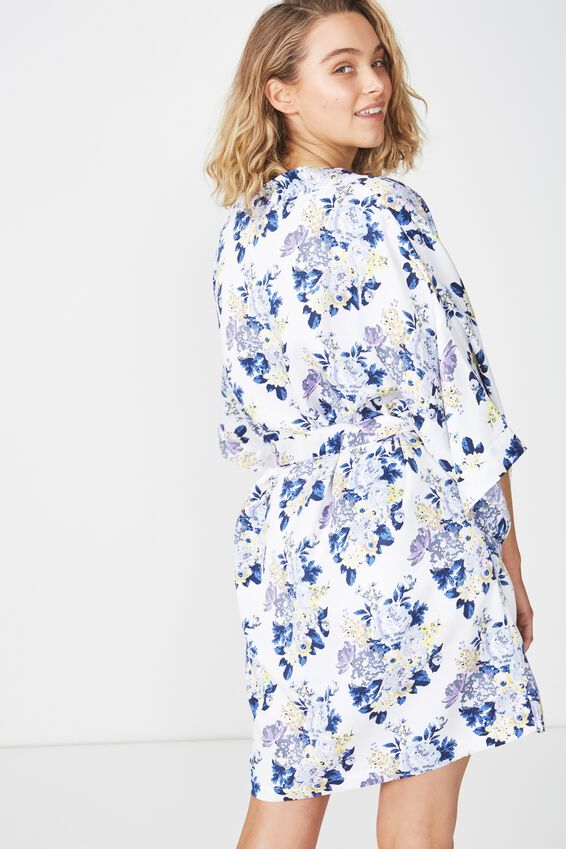 Kimono Gown, BLUE SUPER BLOOM/WHITE