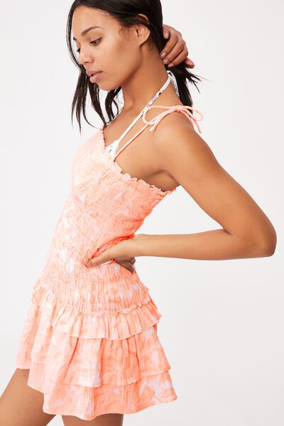 Tiered Shirred Beach Dress, FRUIT TINGLE TROPICAL