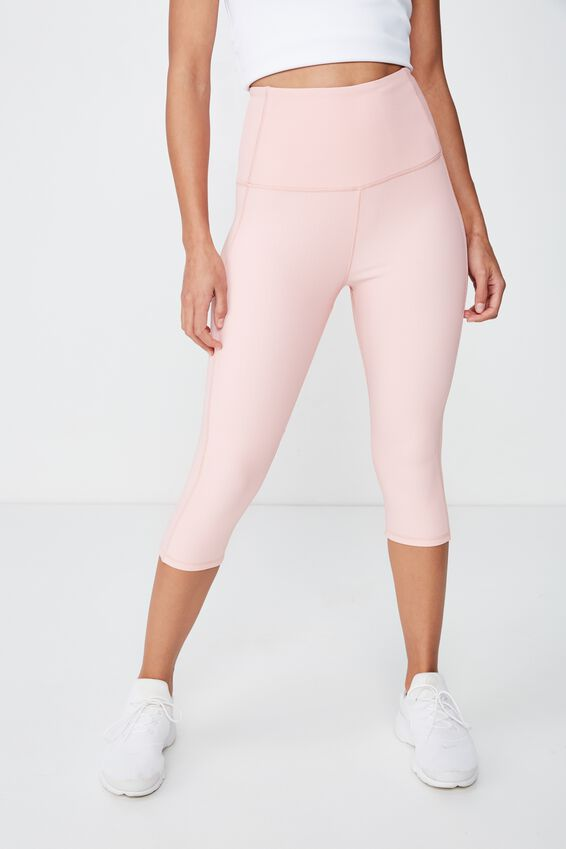 Rib Panelled Capri Tight, PEONY PINK
